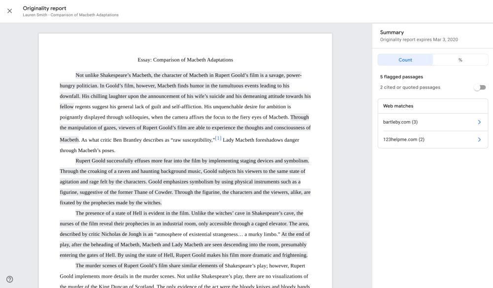 Google Classroom originality reports