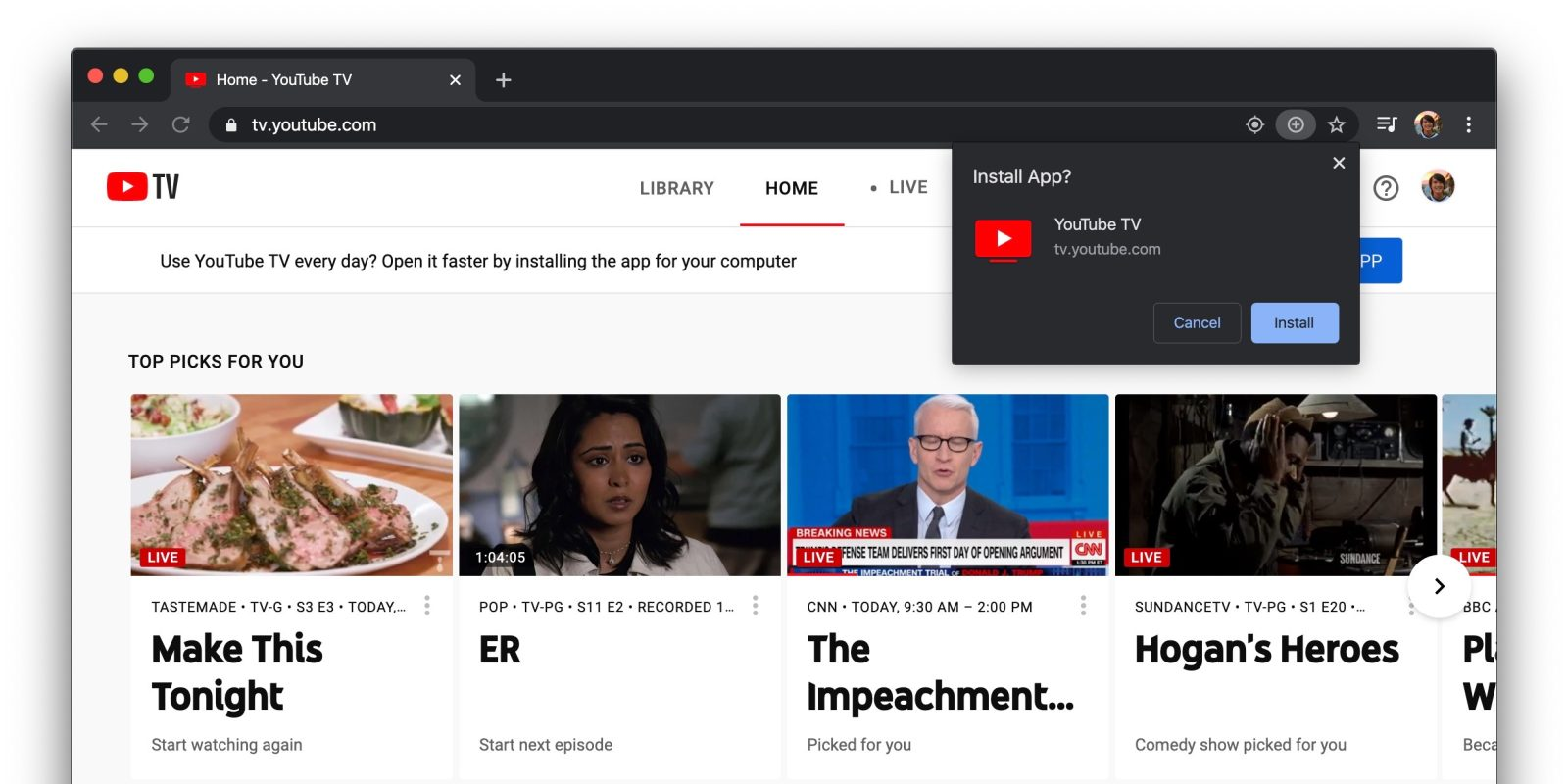 YouTube TV prompting frequent watchers to install Progressive Web App