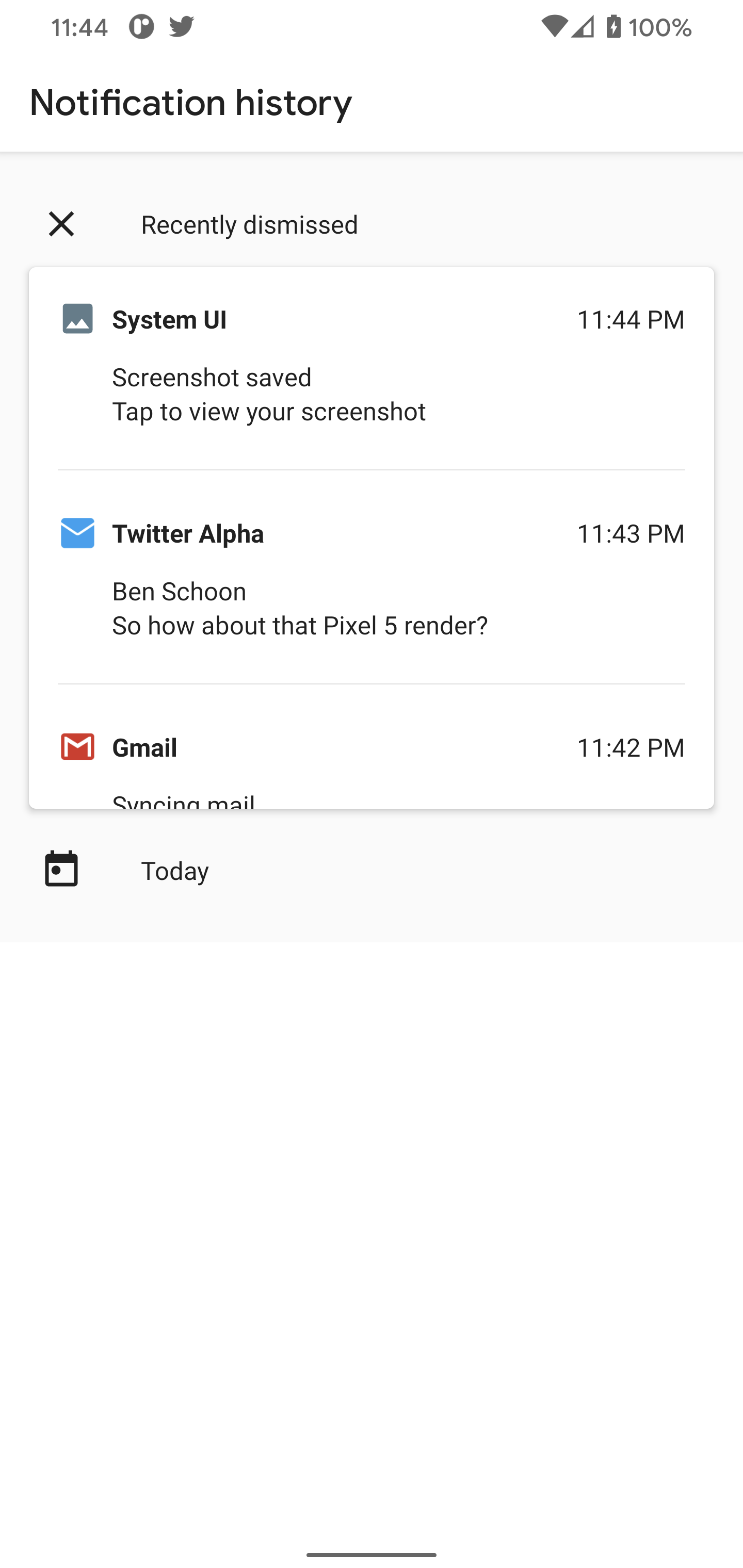 android notification history page