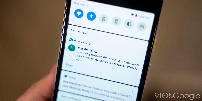 Android 11 DP1: Benachrichtigungen fügen einen Abschnitt für dedizierte Konversationen für Nachrichten-Apps hinzu
