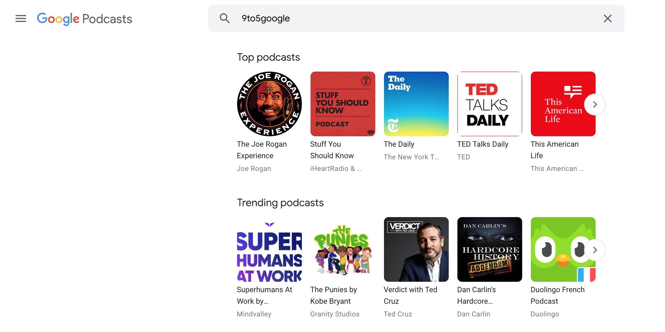Google Podcasts Web