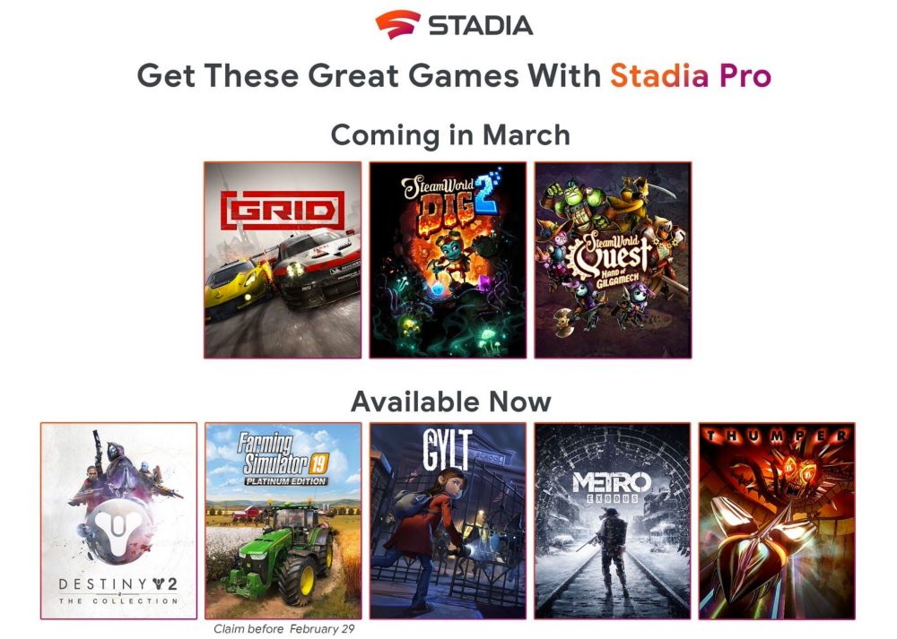 Stadia Pro March 2020 games