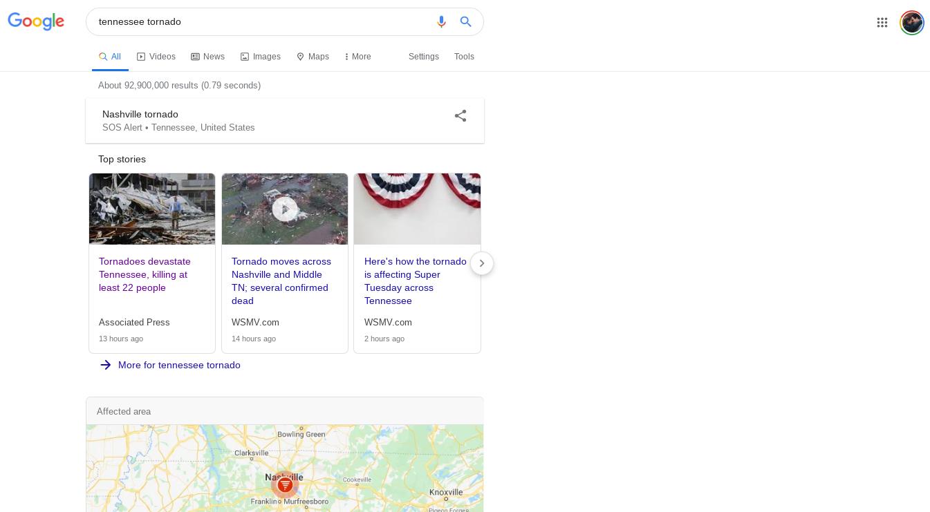 nashville tennessee tornado google sos alert