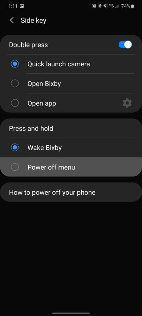 galaxy s20 side key settings bixby power menu turn off setting