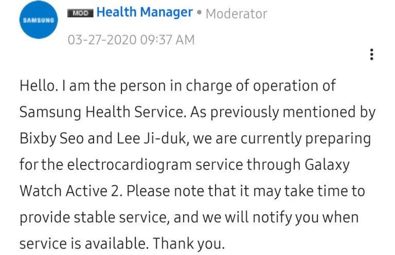 samsung galaxy watch active2 ecg comment