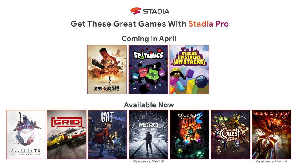 Stadia Pro April 2020 games