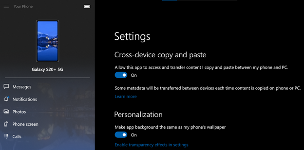 your phone windows 10 clipboard copy paste sharing samsung galaxy s20