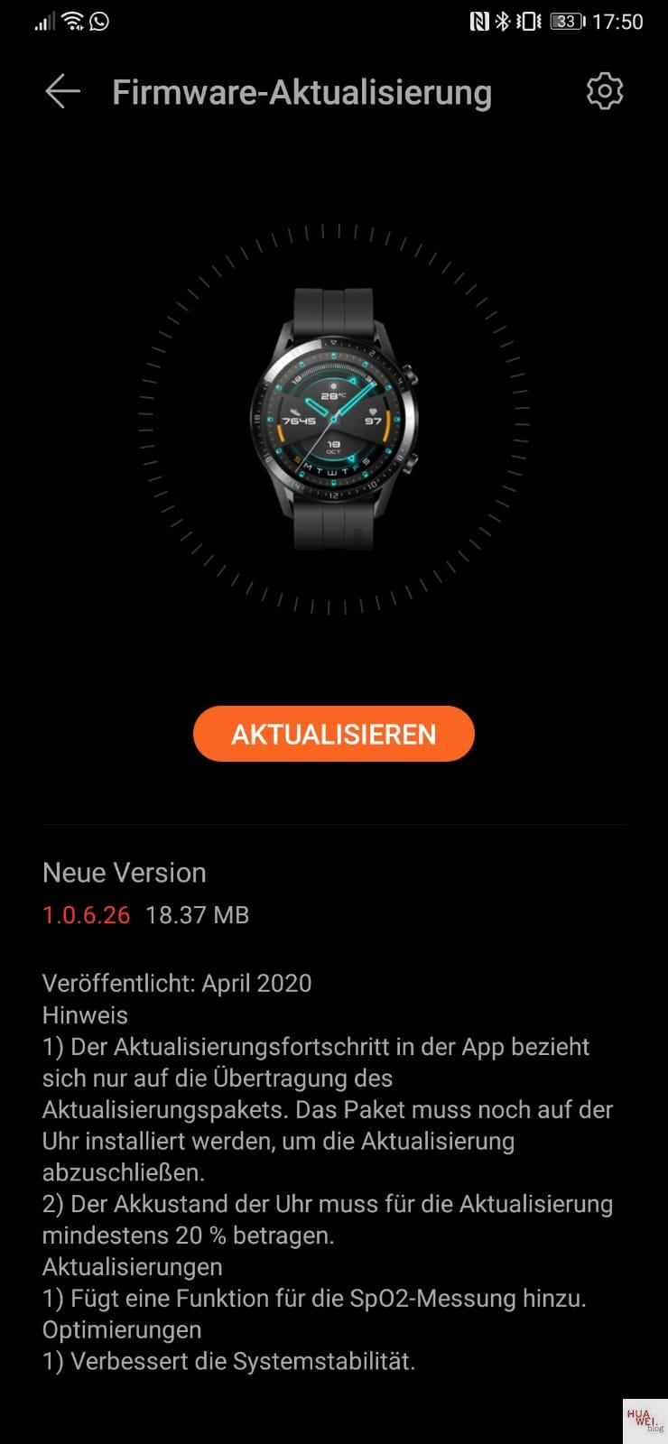 Huawei Watch GT2e SpO2 update