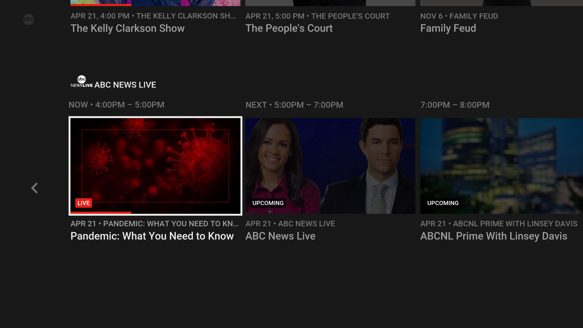 youtube tv abc news live channel