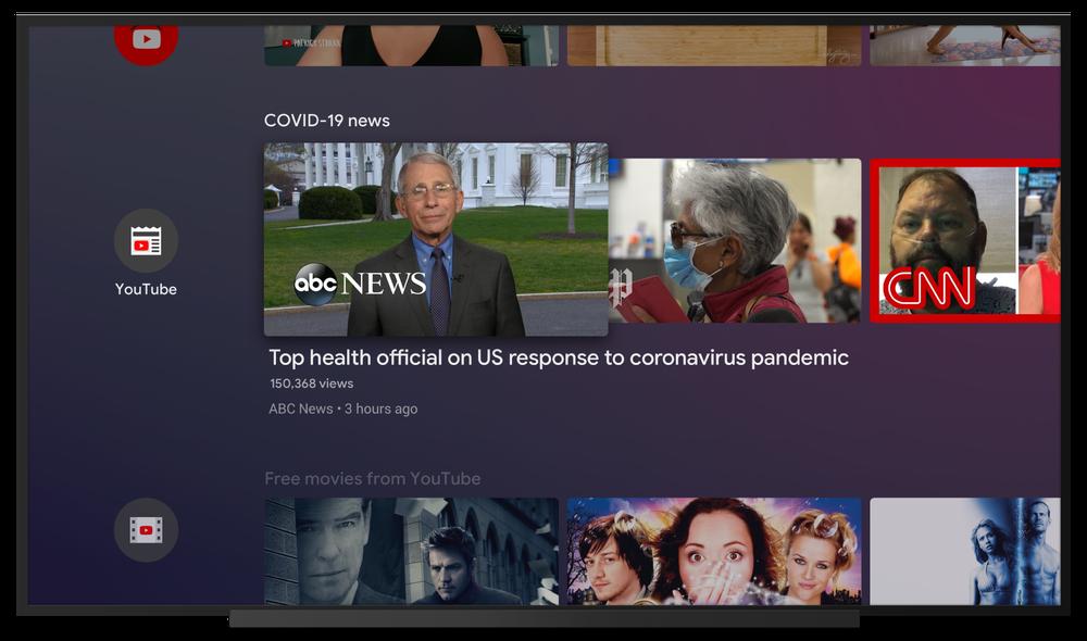 android tv coronavirus homescreen channel youtube news