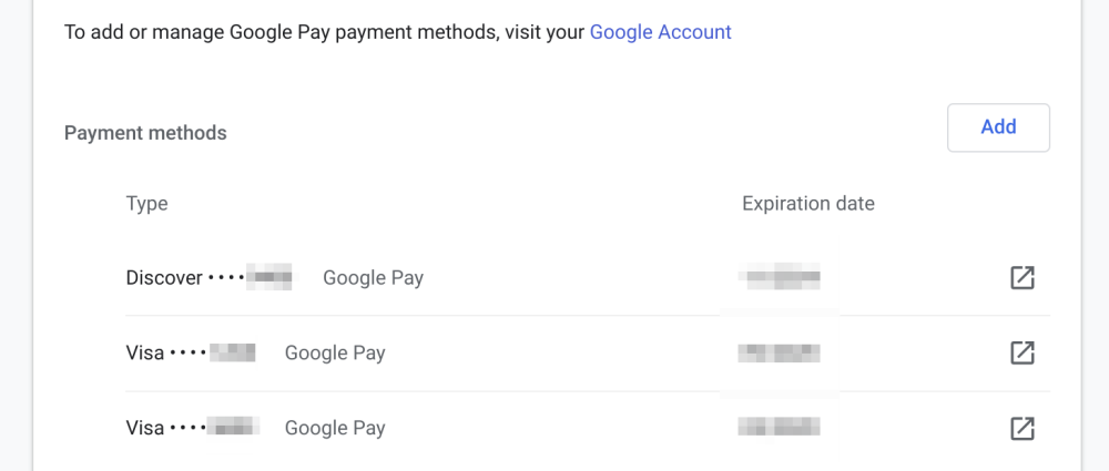 Chrome Google Pay cards
