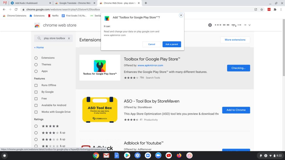 "Chrome OS Extensions ""Ask a parent"""