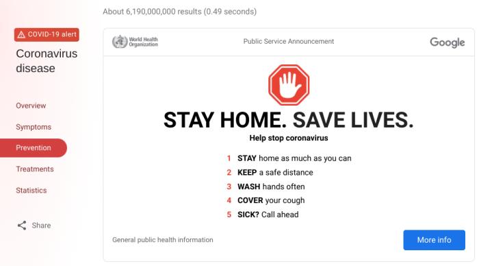 نصائح Google Coronavirus