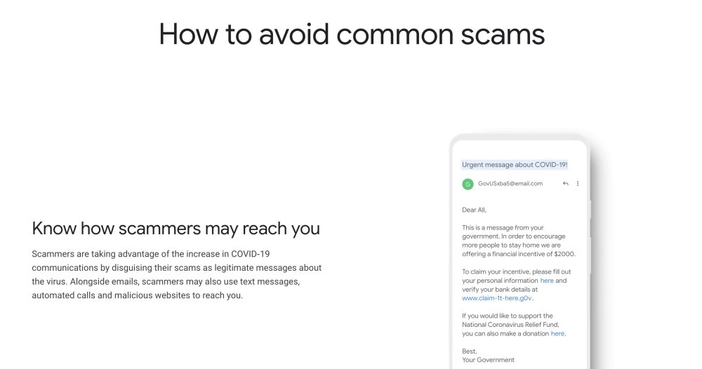 Google security COVID‑19 scams