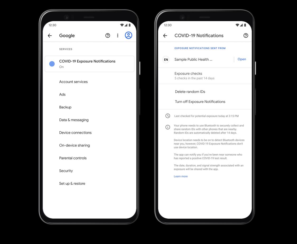 Меню в Android, которое управляет центром уведомления о воздействии Covid-19 на владельца смартфона