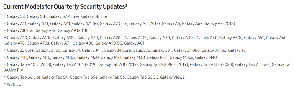 galaxy s8 quarterly updates