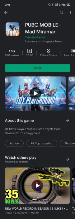 Google Play Store game videos