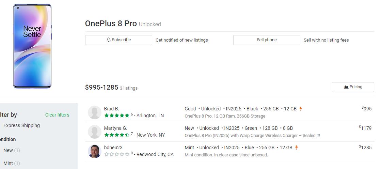 oneplus 8 pro prices swappa