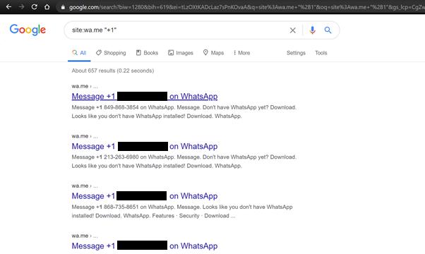 google search whatsapp click to chat data leak