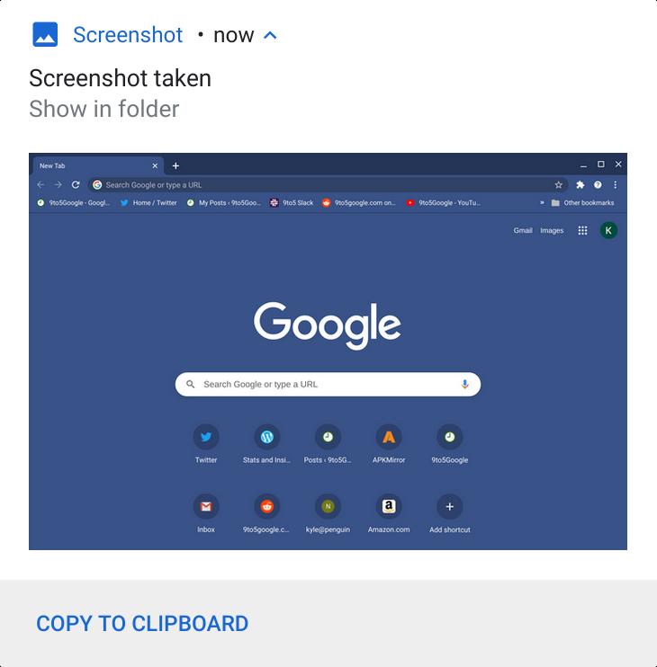Chrome OS / Chromebook screenshot notification