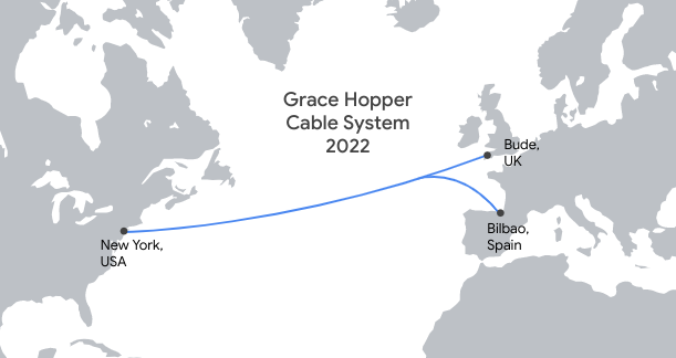 Map of the Grace Hopper subsea cable from New York, USA to Bude, UK and Bilbao, Spain.