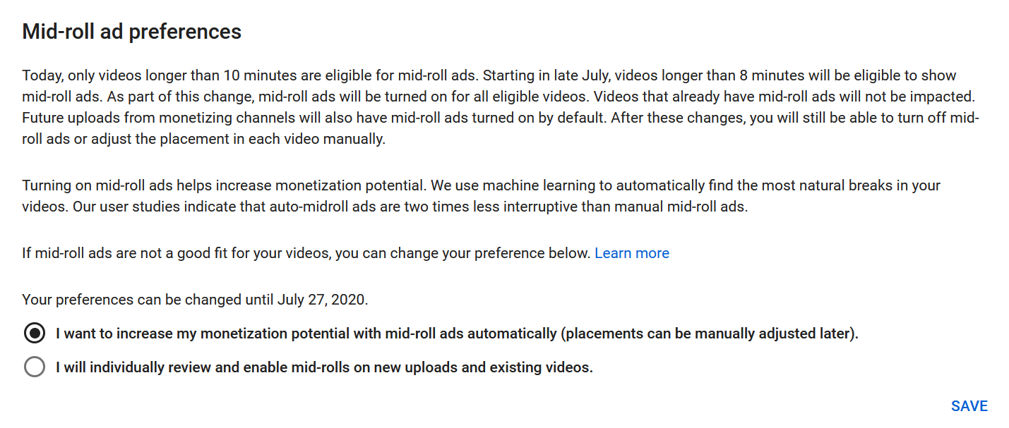 youtube mid-roll ad option studio