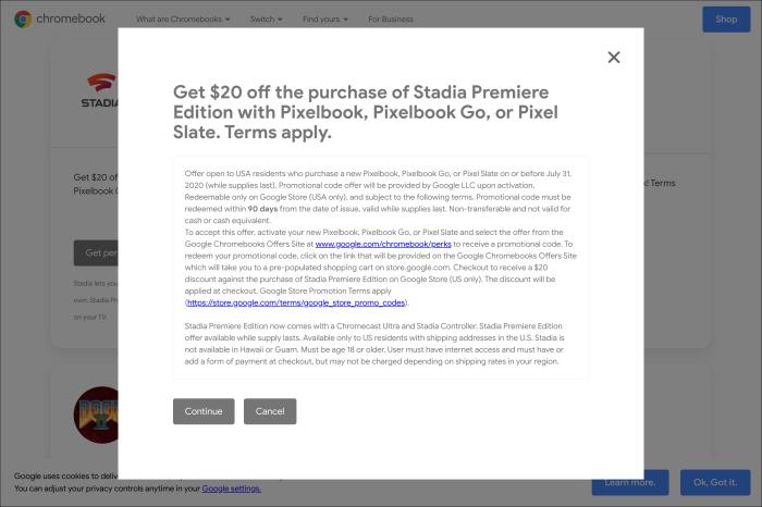 Pixelbook Stadia Premiere discount