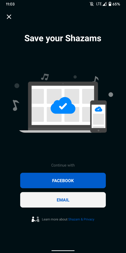 Shazam Facebook sign-in