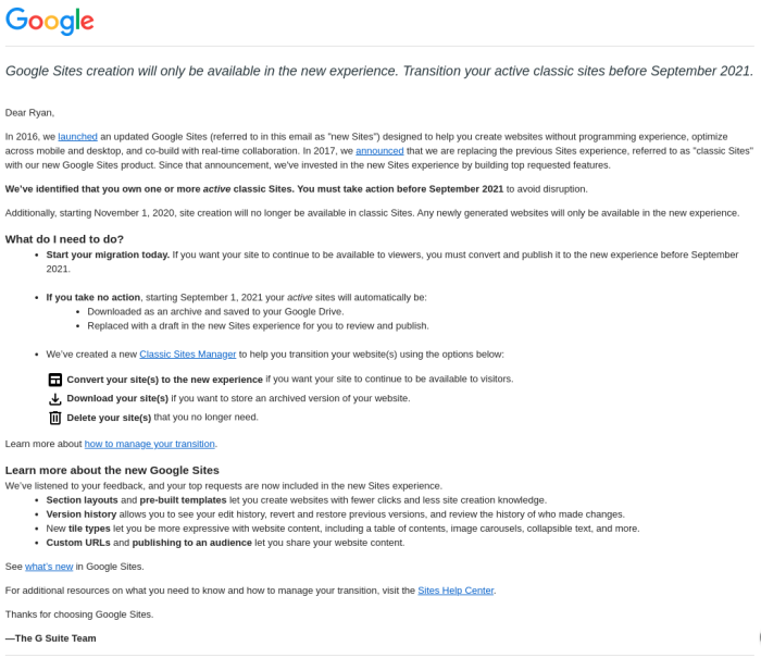 An email sent to users which details the shutdown of classic Google Sites.