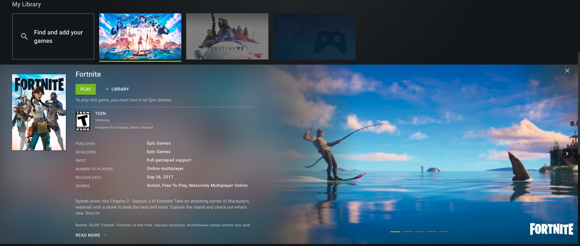Fortnite Chromebook GeForce Now Library