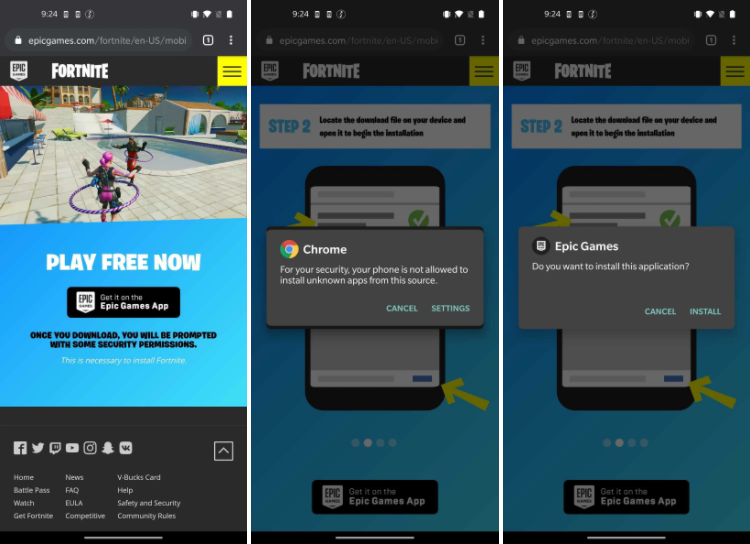 fortnite android install epic games launcher