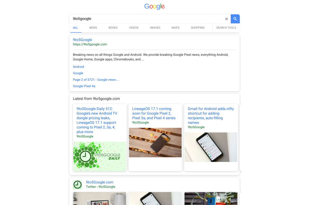 Google Search mobile bug