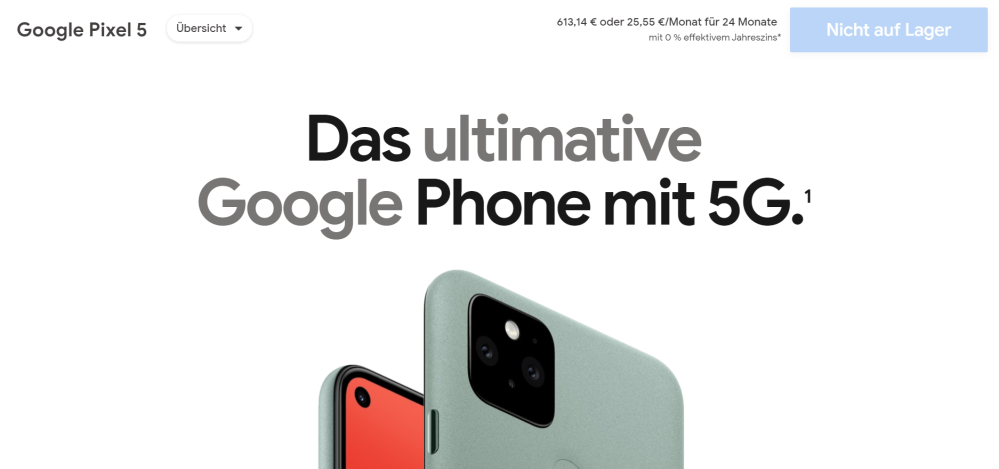 pixel 5 out of stock germany