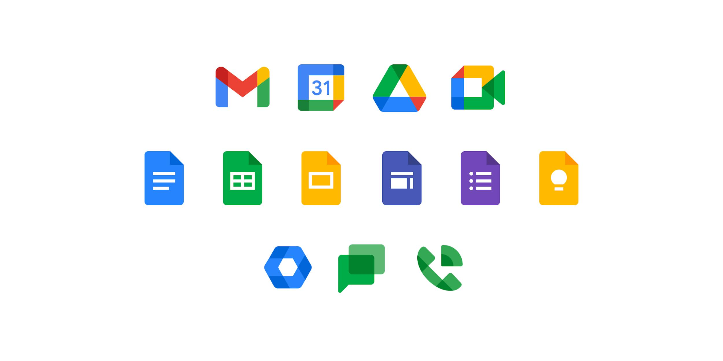 [Update: Complete] New Google Workspace icons rolled out — Drive, Gmail, Chat, Meet, Docs, Keep, Calendar, & Voice - 9to5Google