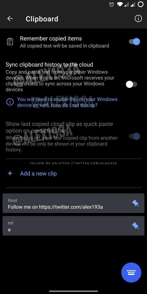 swiftkey windows clipboard sync
