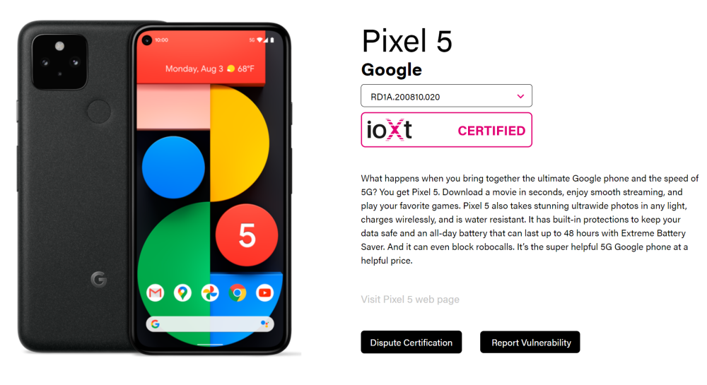 Pixel 5 Android Enterprise Recommended + ioXt