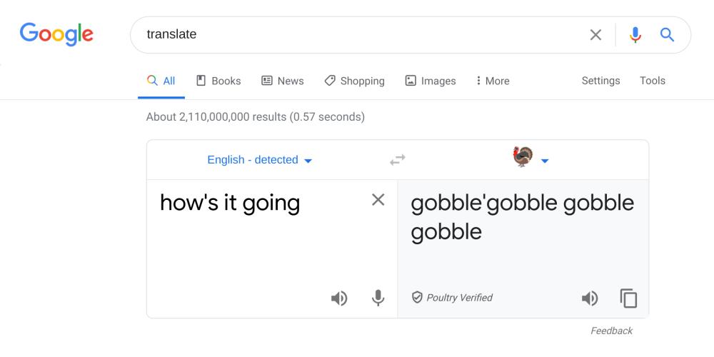 Google Translate Thanksgiving turkey easter egg
