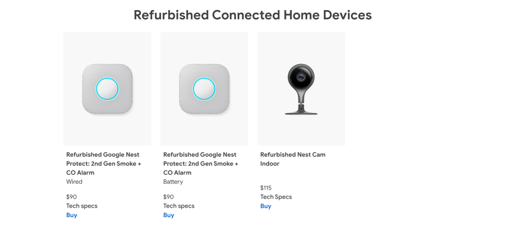 Google Store selling refurbished Nest products in the US