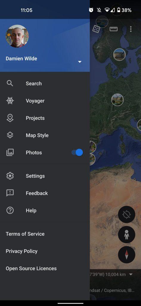 Google Earth dark theme
