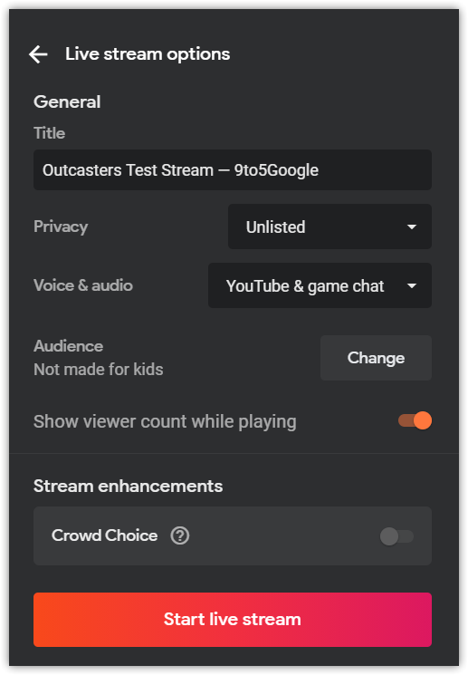 stadia youtube streaming settings