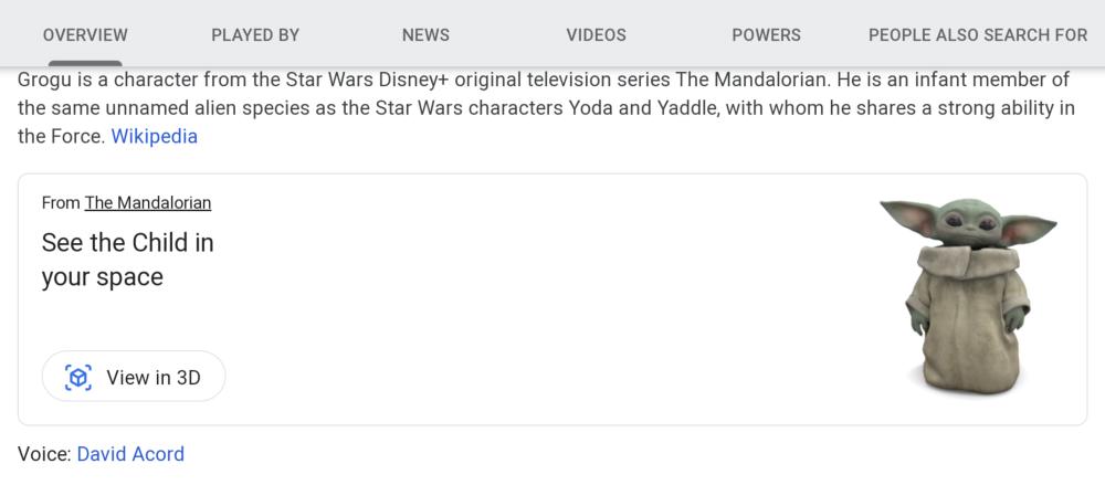 Baby Yoda realtà aumentata