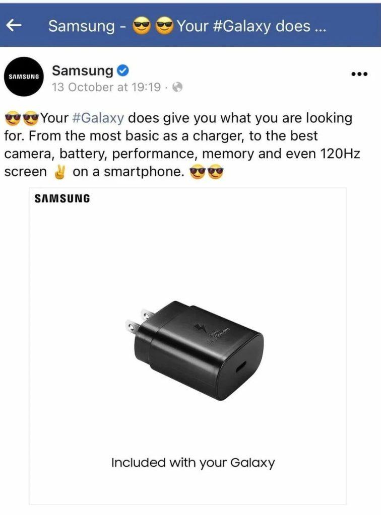 Samsung publicação gozar Apple carregador