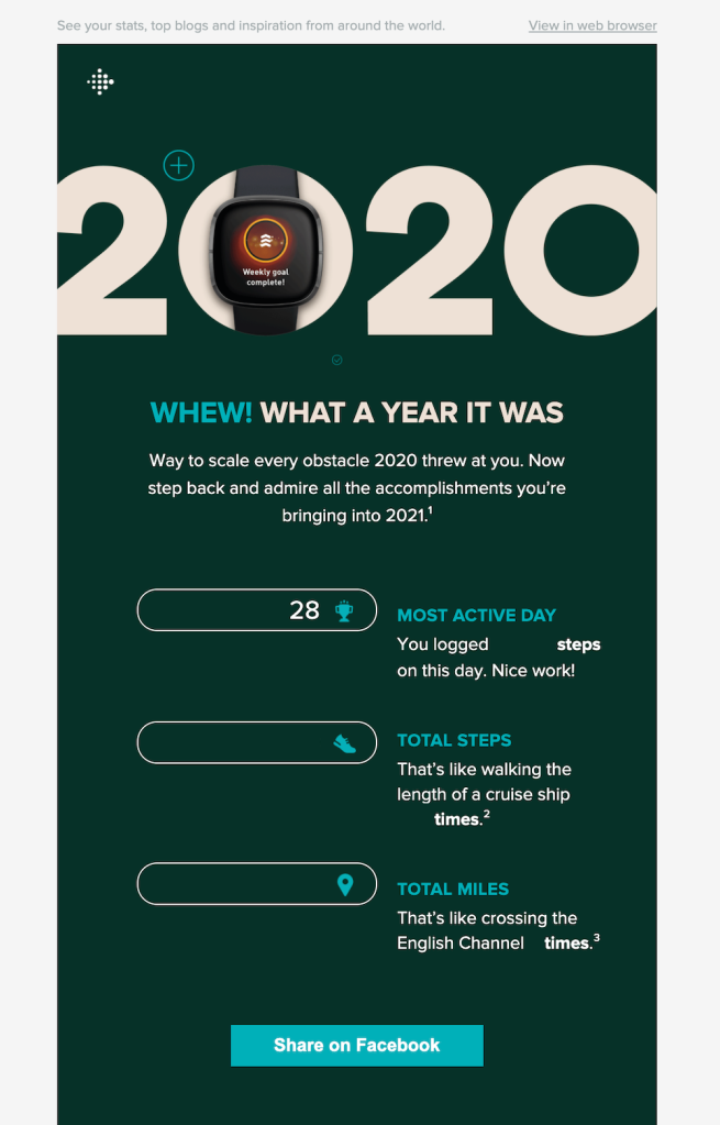 Fitbit 2020 year in review