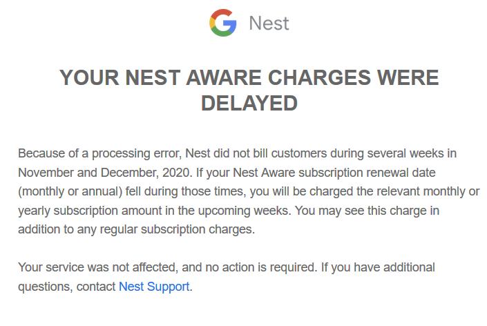 Nest Aware bill