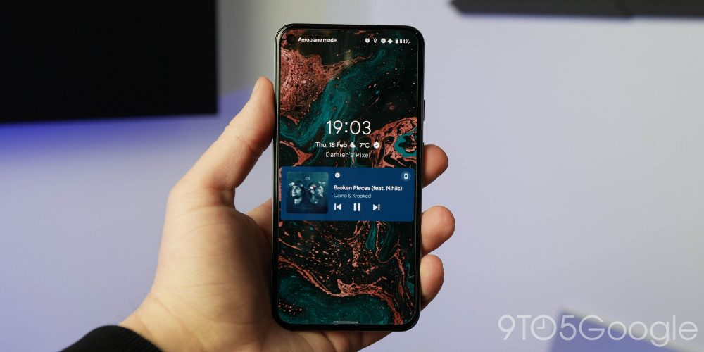Android 12 DP1 new media player