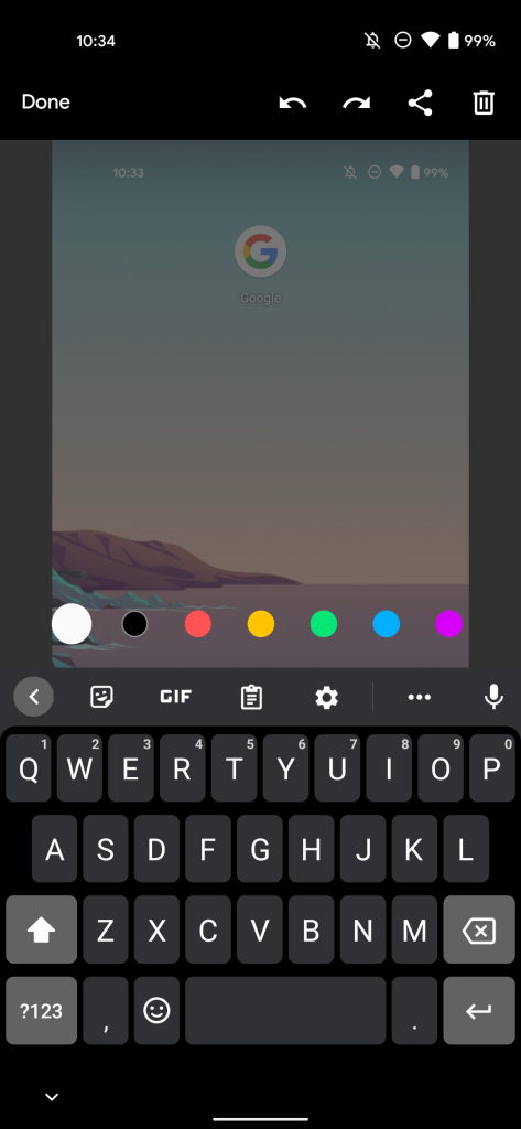 Android 12 markup screenshot