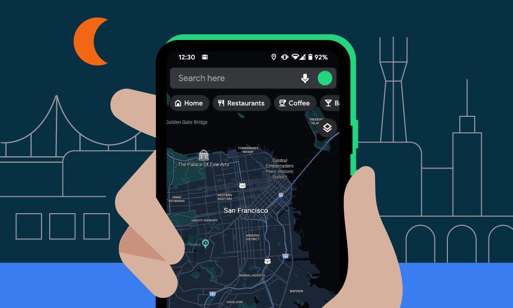 google maps dark theme android