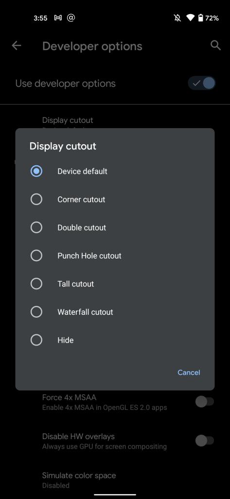 Hide Pixel 5 hole punch-