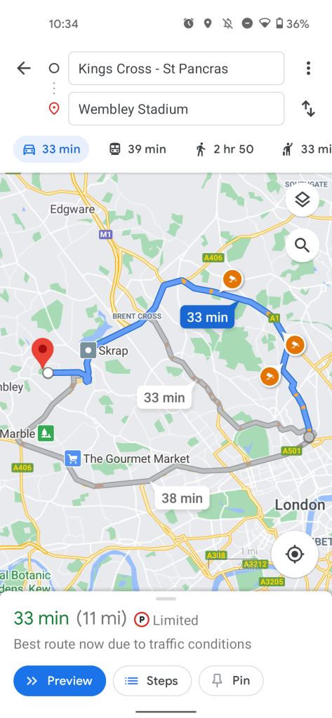 google maps route option ui