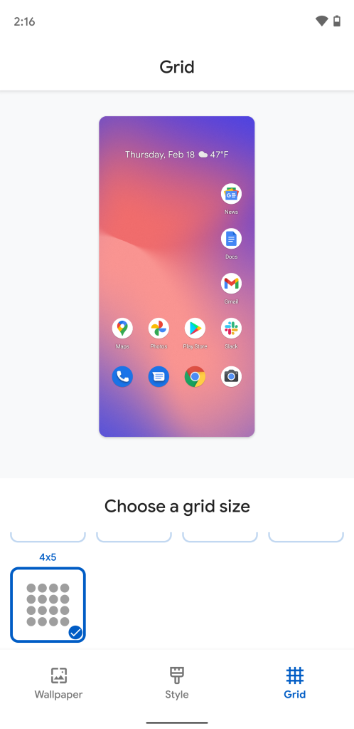 Android 12 Pixel Launcher 4x5 grid